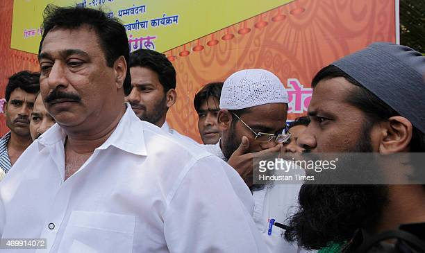 All India MajliseIttehadul Muslimeen candidate Raja Rehbar Khan outside the counting centre after the bypoll results at Bandra on April 15 2015 in...