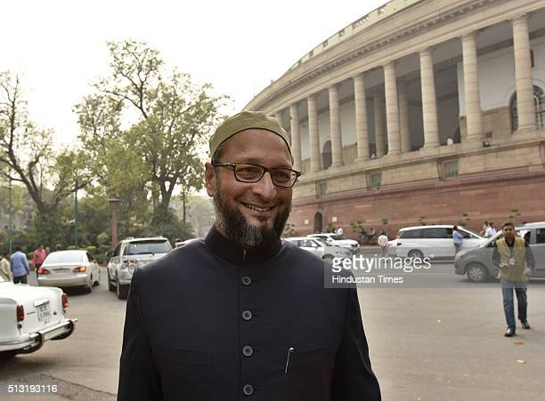 All India MajlisEIttehadul Muslimeen MP Asaduddin Owaisi at Parliament during the ongoing Budget Session on March 1 2016 in New Delhi India Both the...