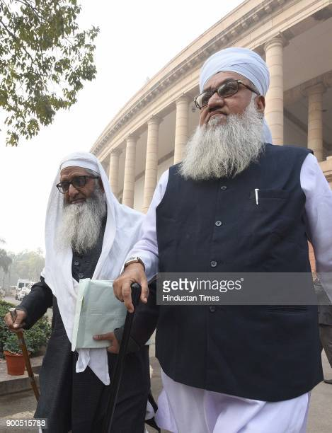 All India Muslim Law Board members leave Parliament premises after meeting on Triple Talaq Bill during the ongoing Parliament Winter Session on...