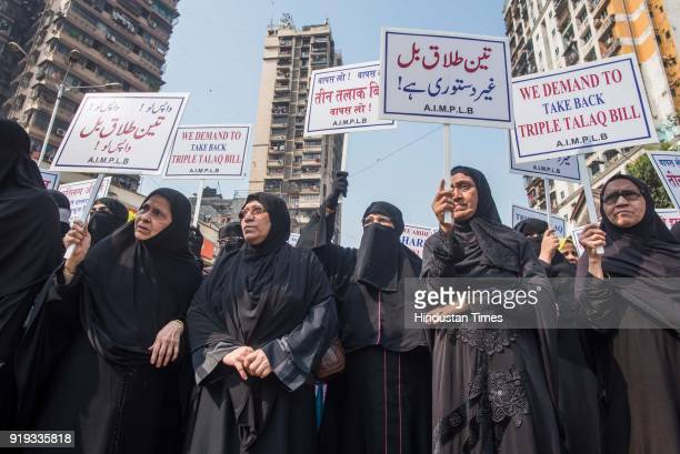 All India Muslim Personal Law Board organised silent march protesting against the Centre's Triple Talaq Bill at Nagpada Junction on February 15 2018...