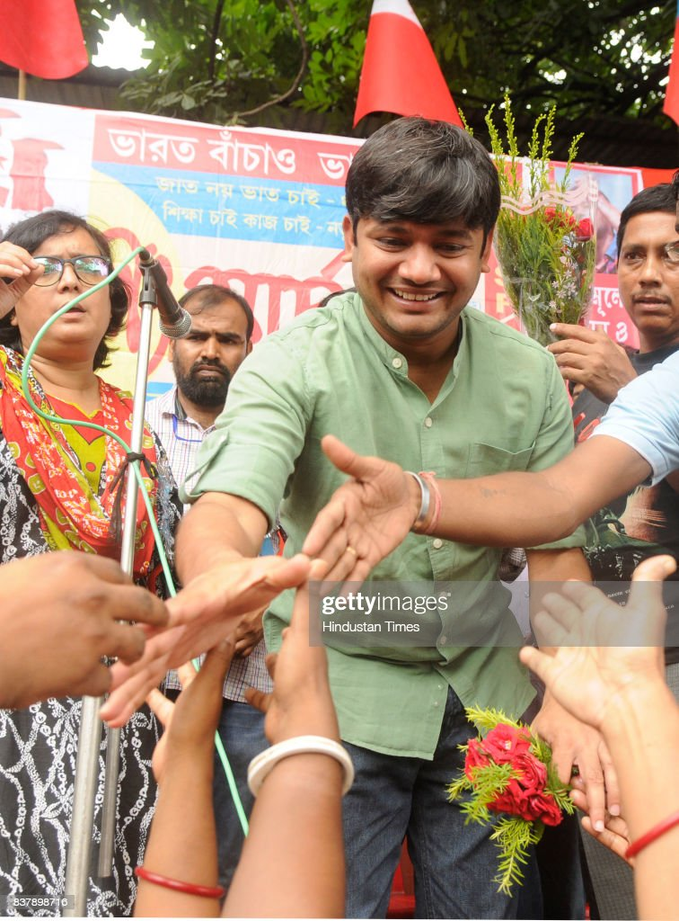 All India Students Federation (AISF) leader Kanhaiya Kumar and All India Youth Federation (AIYF) organise nationwide long march against communal tension created by Fundamentalist groups, BJP/RSS at Shyambazar crossing, on August 23, 2017 in Kolkata, India.