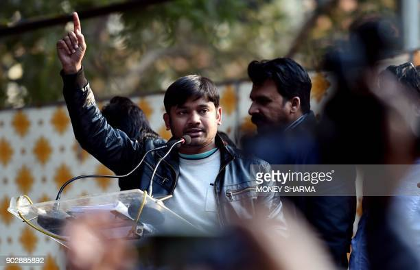 All India Students Federation leader Kanhaiya Kumar the student wing of the Communist Party of India gestures as he speaks during a rally in New...