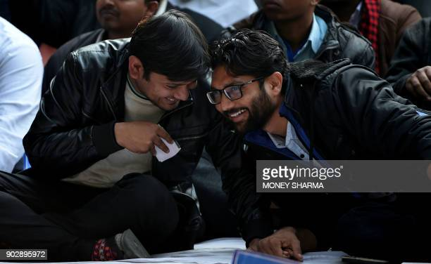 All India Students Federation the student wing of the Communist Party of India leader Kanhaiya Kumar and social activists Jignesh Mevani talk during...