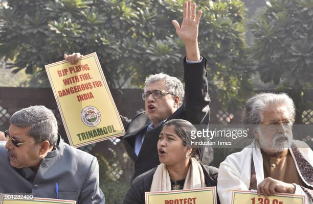 All India Trinamool Congress party member of Parliaments protest against Assam Government demanding suspension of Assam Government on the issue of...