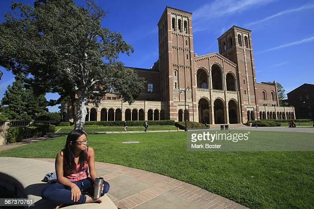 All is calm on the UCLA campus as senior Anthropology major Tiffany Do sits quietly near Royce Hall a few hours after a 44 earthquake with an...