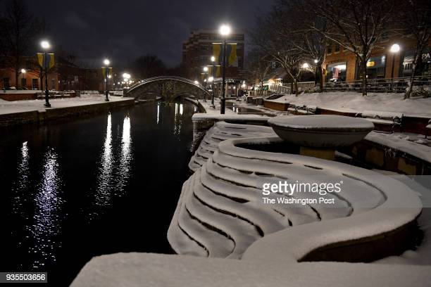 All is quiet along Carroll Creek during a lull in the snowstorm on the first day of spring March 20 2018 in Frederick MD