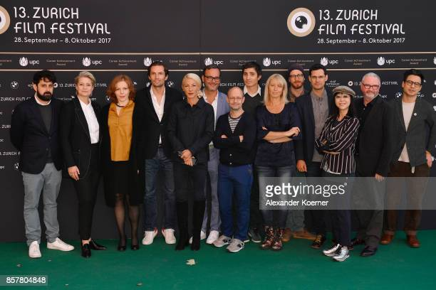 All jury members pose at a photocall during the 13th Zurich Film Festival on October 5 2017 in Zurich Switzerland The Zurich Film Festival 2017 will...