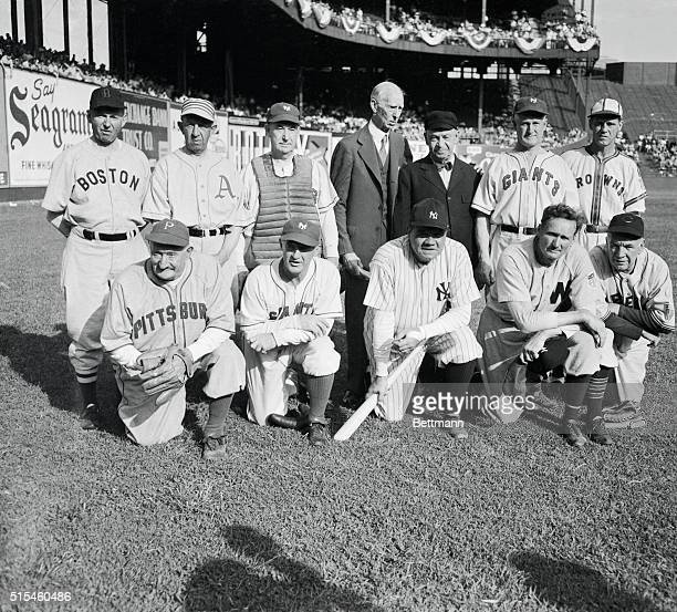 All luminaries from baseball's Hall of Fame these old timers trotted out on the diamond once more to do their stuff for Uncle Sam They participated...