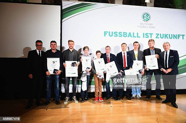 All medal winners pose after the Club 100/Fair ist mehr Award Ceremony at Rathaus Nuernberg on November 14 2014 in Nuremberg Germany