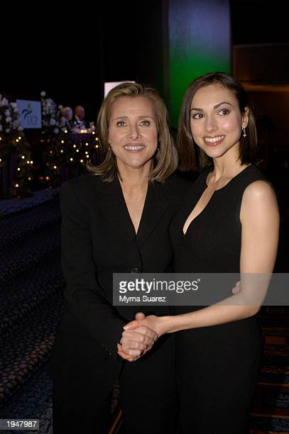 All My Children Actress Eden Reigel wearing a Michael Kors dress poses with The View host Meredith Vieria at the 48th Annual United Cerebral Palsy Of...