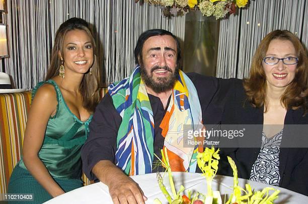 All My Children's Eva La Rue and Luciano Pavarotti and his wife Nicoletta