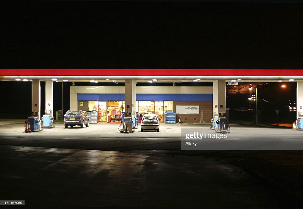 All night garage : Stock Photo