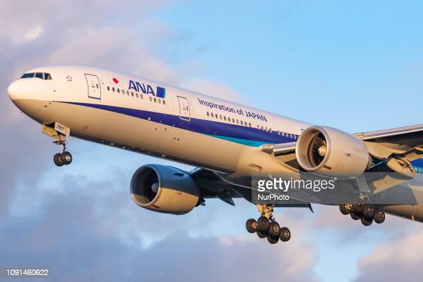 ANA All Nippon Airways Boeing 777300 with registration JA787A landing at London Heathrow International Airport LHR / EGLL in England UK All Nippon...
