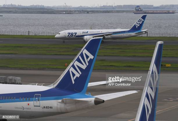 All Nippon Airways Boeing 787 is seen on the taxiway at Haneda international airport in Tokyo on August 2 2017 Japan's All Nippon Airways is expected...