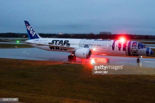All Nippon Airways Boeing 7879 Dreamliner JA873A Star Wars R2D2 Lackierung am Flughafen München nach einem langem Flug aus Tokio // All Nippon...