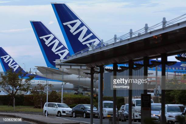 All Nippon Airways Co aircraft stand parked at Kansai International Airport in Izumisano Osaka Prefecture Japan on Friday Sept 7 2018 Japan's...