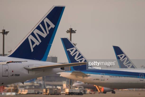 All Nippon Airways Co aircraft stand parked at Narita Airport in Narita Chiba Prefecture Japan on Sunday Jan 28 2018 ANA is scheduled to release...