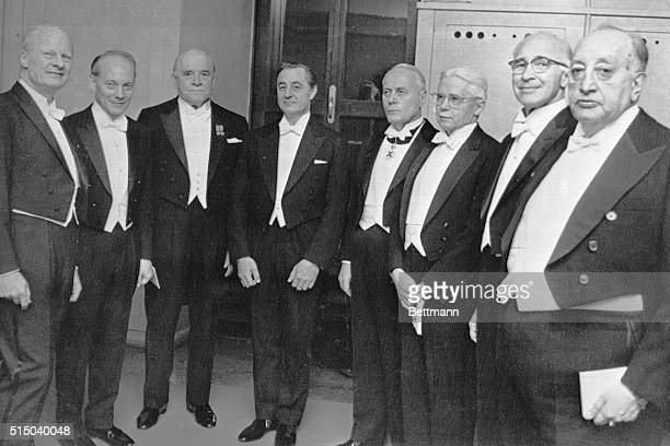 All of the 1967 prize winner appear together Dec 10 during the Nobel Prize Award Ceremony in the Concert Hall here They are from left Hans A Bethe US...