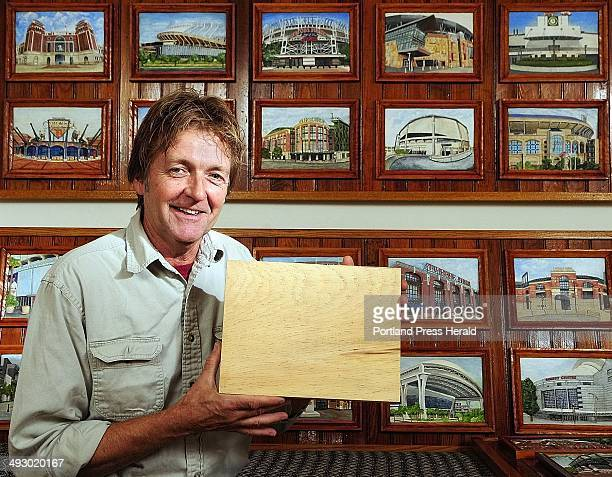 All of the 36 ballparks that John Kennedy carved all started out as a 9by12inch piece of Eastern White Pine The frames are carved from the same block...