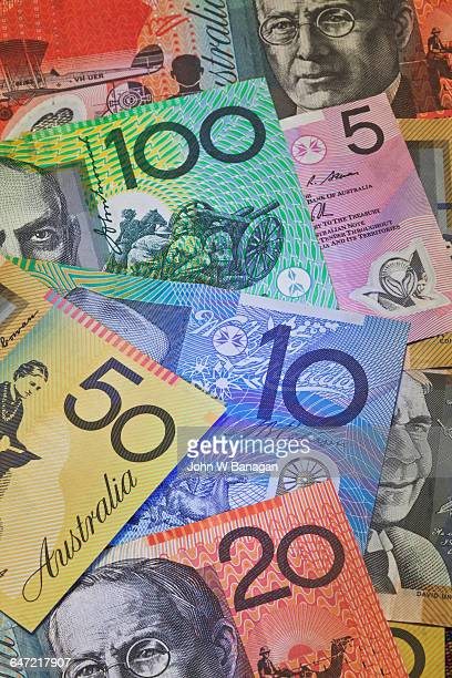 all of the bank notes of australia - banknote stock pictures, royalty-free photos & images