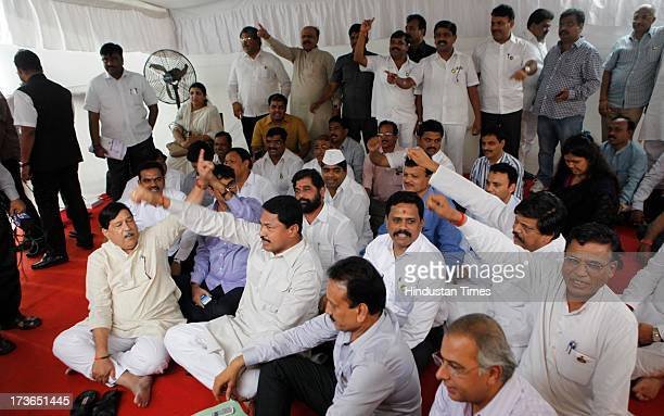 All opposition party members protested on Dance Bar issue outside Vidhan Bhavan for Bhavan during Monsoon Assembly session on July 16 2013 in Mumbai...
