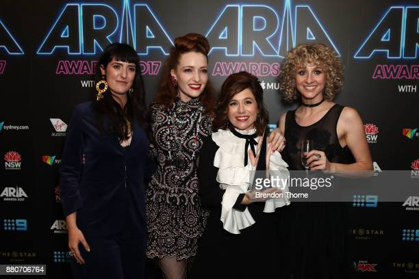 All our Exes Live In Texas pose in awards room with an ARIA for Best Blues Album during the 31st Annual ARIA Awards 2017 at The Star on November 28...