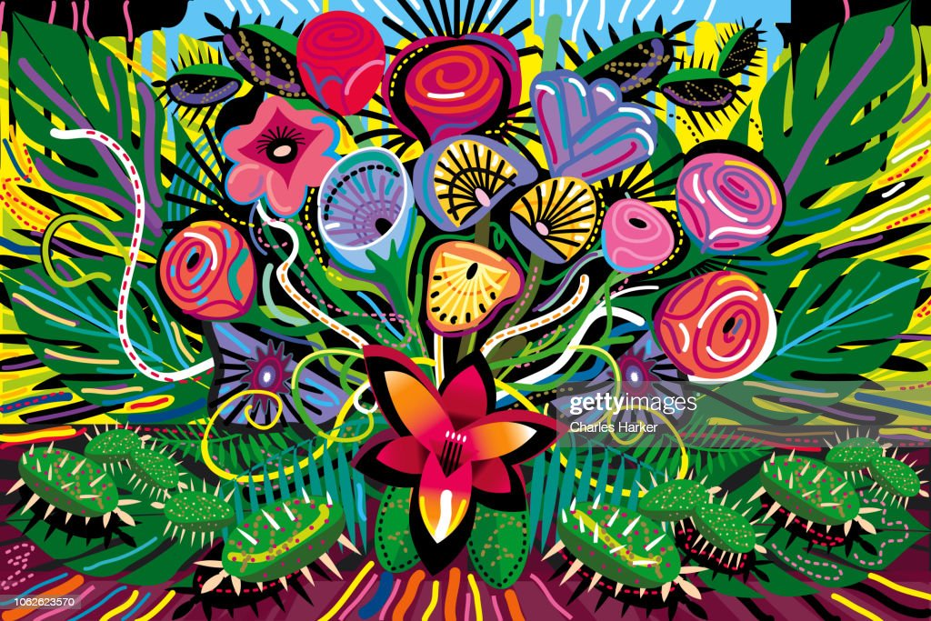 All over Blooming Flowers Bouquet in Vivid Color Illustration : Stock Photo