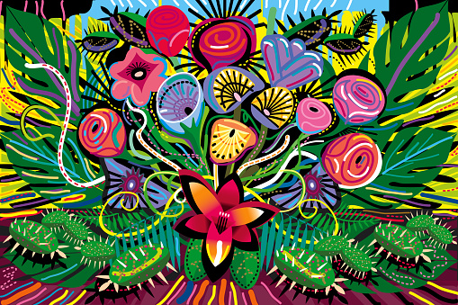 All over Blooming Flowers Bouquet in Vivid Color Illustration - gettyimageskorea
