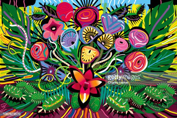 all over blooming flowers bouquet in vivid color illustration - guadalajara mexico stock pictures, royalty-free photos & images