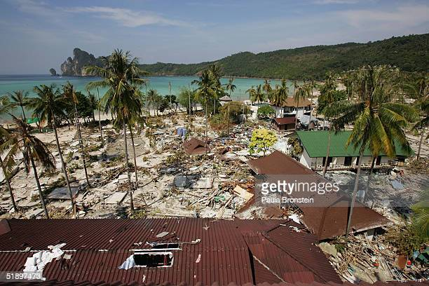 All over Ton Sai Bay the heart of Koh Phi Phi shops restaurants and bungalows were totally wiped out following a Tsunami December 28 2004 on Phi Phi...