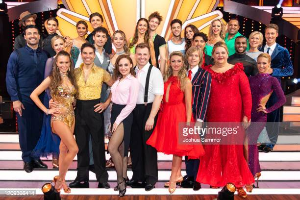 All participants are seen on stage during the 1st show of the 13th season of the television competition Let's Dance on February 28 2020 in Cologne...