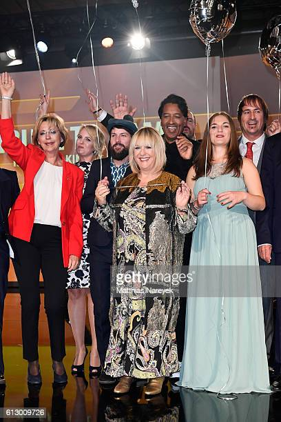 All participants of the Tribute To Bambi show pose on the stage at Station on October 6 2016 in Berlin Germany