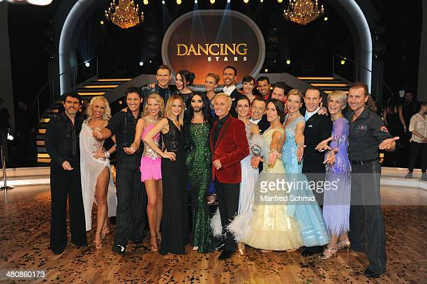 All participants pose for a photograph during the 'Dancing Stars' TV Show after party at ORF Zentrum on March 21 2014 in Vienna Austria