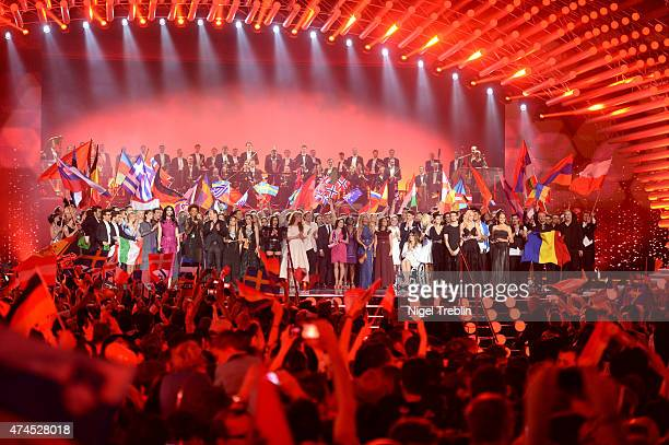 All participants stand on stage during the final of the Eurovision Song Contest 2015 on May 23 2015 in Vienna Austria The final of the Eurovision...