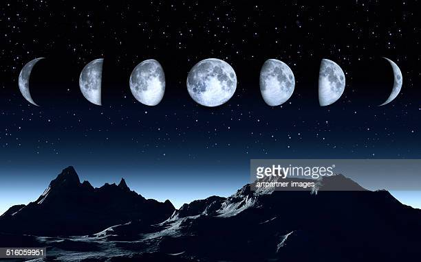 all phases of the moon on a clear dark sky - moon stock pictures, royalty-free photos & images