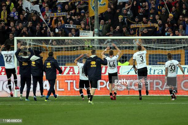 All players of Parma Calcio greets fans after during the Serie A match between Parma Calcio and Udinese Calcio at Stadio Ennio Tardini on January 26...
