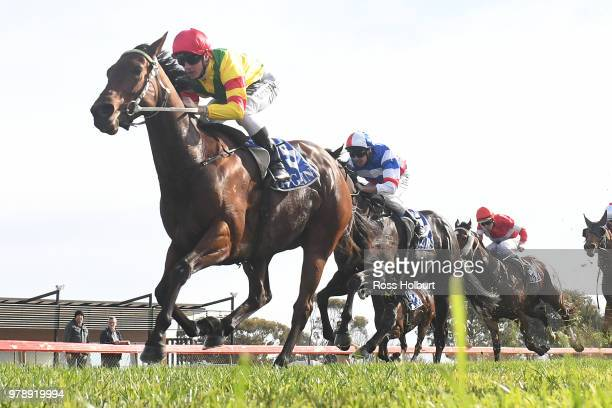 Definia ridden by Jarrod Fry wins the Independent Cranes BM64 Handicap at Echuca Racecourse on June 20 2018 in Echuca Australia