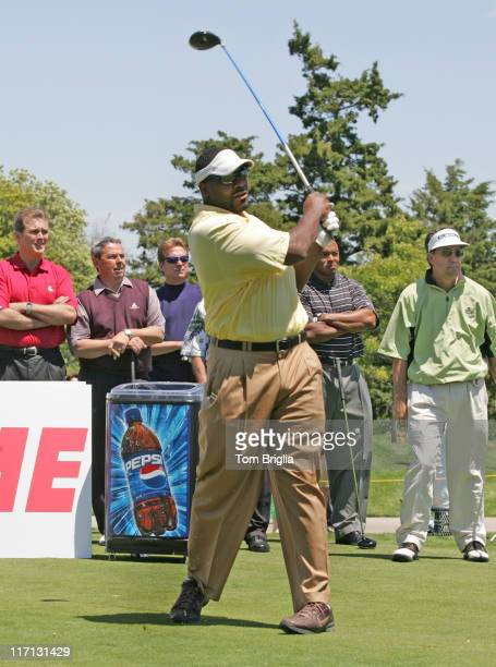 All Pro Middle Linebacker from the Philadelphia eagles Jeremiah Trottertees off to at the first tee of the Ron Jaworski Celebrity Golf Challenge held...