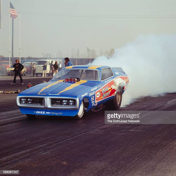 All Pro Series II Drag Race OCIR Gene Snow doing a burn out on the starting line in his Dodge Charger