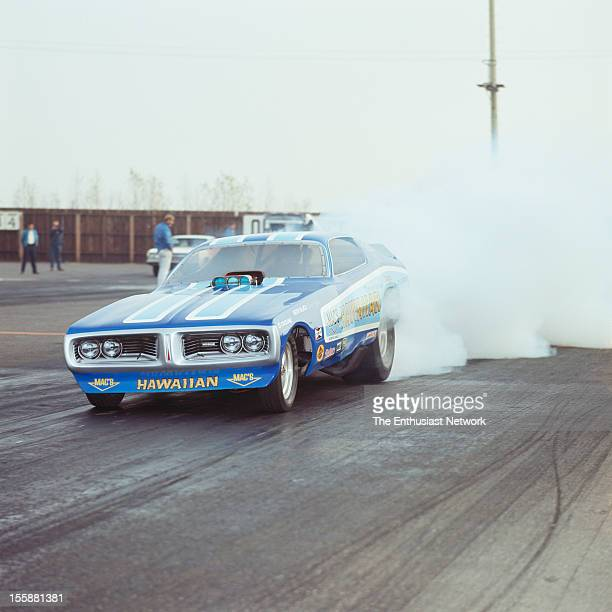 All Pro Series II Drag Race OCIR Roland Leong 'The Hawaiian' doing a burn out on the starting line in his Dodge Charger