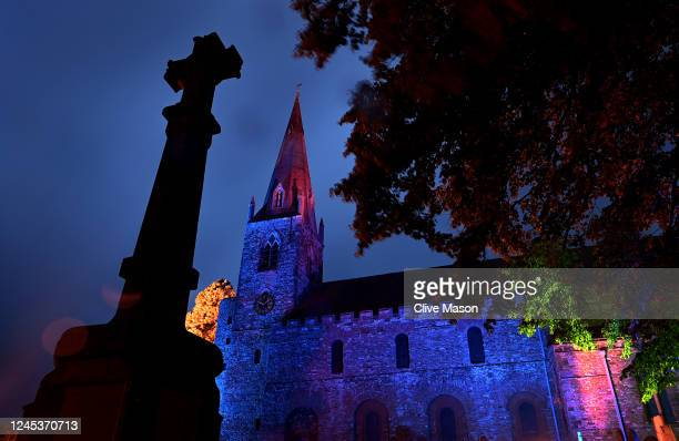 All Saints Anglo Saxon Church is lit up in blue in support of the NHS on June 04, 2020 in Brixworth, England. The British government further relaxed...
