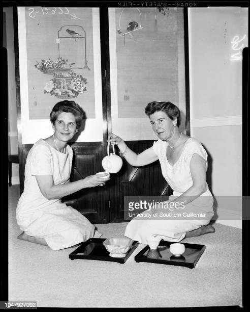 All Saints Church in Beverly Hills 23 June 1958 Mrs George WakefieldMrs Leroy Garrett Caption slip reads 'Photographer Wilson Date Assignment Society...