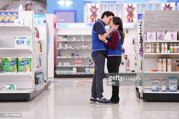 """All Sales Final"""" Episode 615 -- Pictured: Ben Feldman as Jonah, America Ferrera as Amy --"""