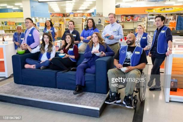"""All Sales Final"""" Episode 615 -- Pictured: Nico Santos as Mateo, Nichole Sakura as Cheyenne, America Ferrera as Amy, Jon Barinholtz as Marcus, Kaliko..."""