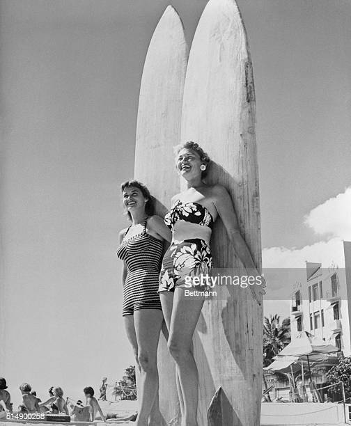 All set to do some surfboarding at Honolulu's Waikiki Beach are Mary Ray Fearon and Oralee Kiewit The sun couldn't have found a prettier pair to...