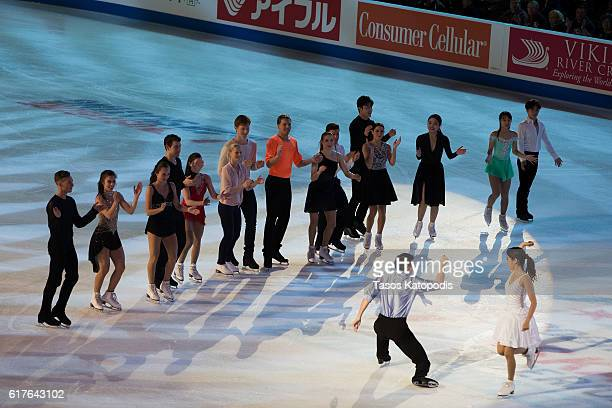 All skaters take to the ice at the Smucker's Skating Spectacular at 2016 Progressive Skate America at Sears Centre Arena on October 23 2016 in...