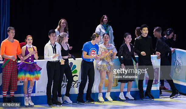All skaters take to the ice for a bow at the Smucker's Skating Spectacular at 2016 Progressive Skate America at Sears Centre Arena on October 23 2016...