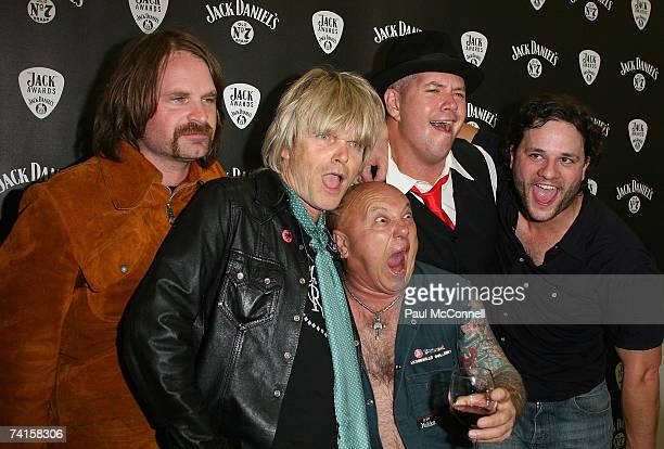 All star band members Andy Kent Mark McEntee Angry Anderson Pat Davern and Malcolm Clark pose backstage at the 2007 Jack Awards at Luna Park May 15...