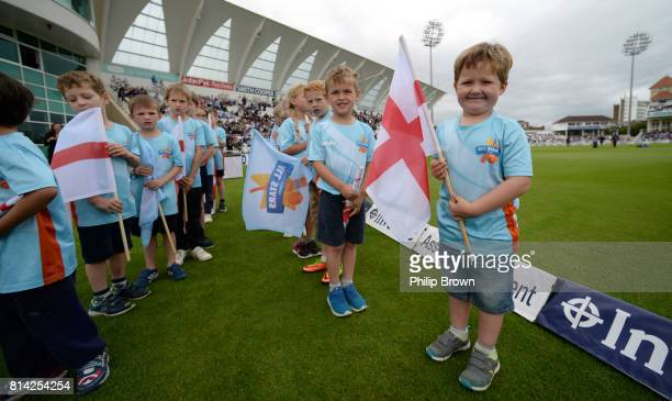 All star cricketers prepare to make a guard of honour before the 2nd Investec Test match between England and South Africa at Trent Bridge cricket...
