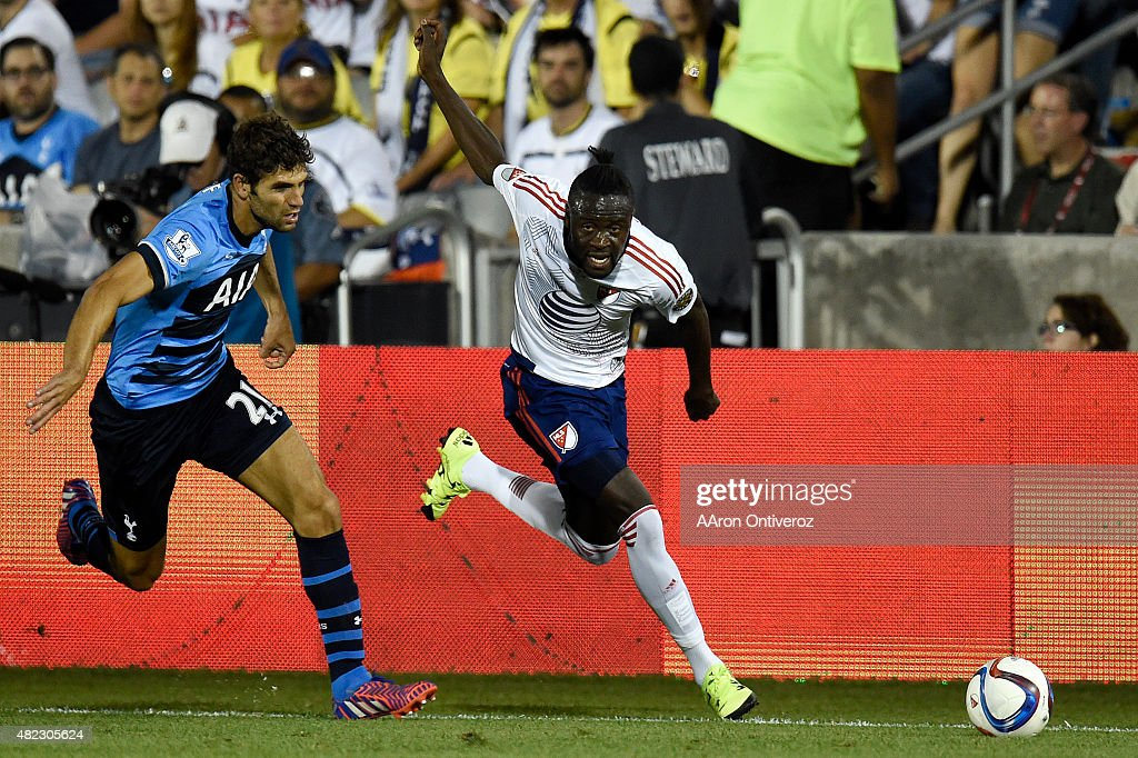MLS All Star forward Kei Kamara (23) of Columbus Crew FC breaks away from Tottenham Hotspur defender Federico Fazio (21) during the second half of the All-Stars' 2-1 win. The MLS All-Stars played Tottenham Hotspur on Wednesday, July 29, 2015.